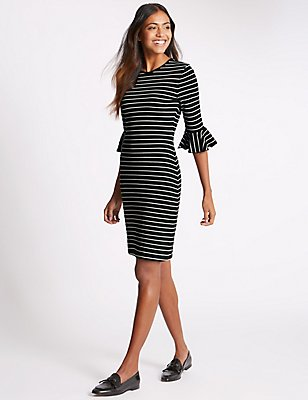 Cotton Rich Striped Frill Cuff Tunic Dress, BLACK MIX, catlanding