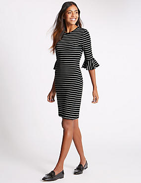 Frill Cuff Striped 3/4 Sleeve Tunic Dress, BLACK MIX, catlanding