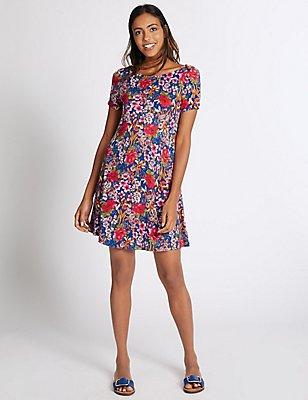 Floral Print Swing Dress, PINK MIX, catlanding