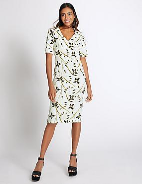 Floral Print Half Sleeve Bodycon Midi Dress, IVORY MIX, catlanding