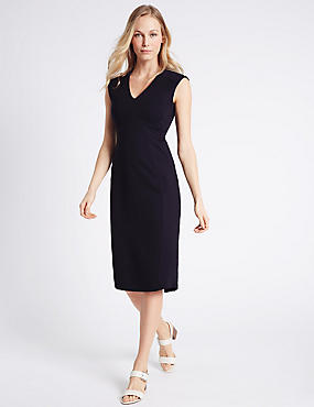 V-Neck Bodycon Dress, NAVY, catlanding
