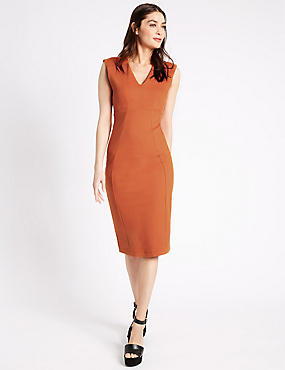 Bodycon-jurk met kapmouwtjes, ORANJE, catlanding