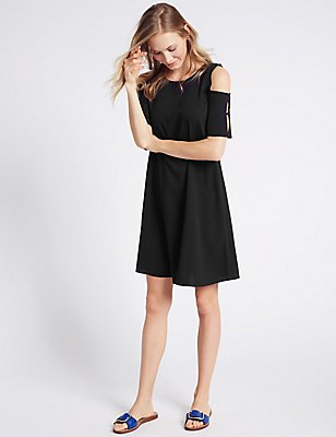 Trapeze Cold Shoulder Swing Dress, BLACK, catlanding
