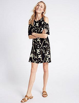 Trapeze Floral Print Swing Dress, BLACK MIX, catlanding