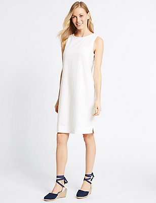 Linen Blend Scallop Neck Tunic Dress, IVORY, catlanding