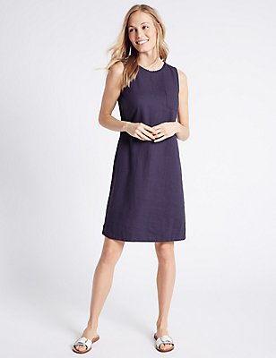 Linen Blend Scallop Neck Tunic Dress, NAVY, catlanding