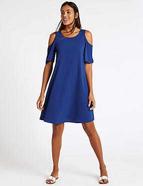 Trapeze Cold Shoulder Swing Dress, BLUE, catlanding