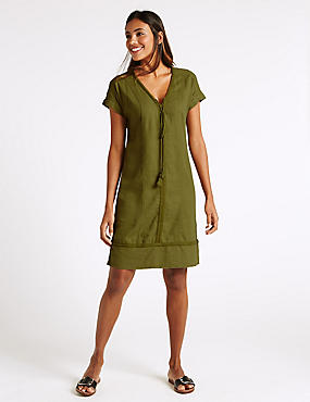 Linen Blend Drawstring Tassel Shift Dress, KHAKI, catlanding