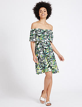 Printed Bardot Short Sleeve Shift Dress, MULTI, catlanding