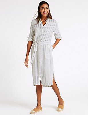 Linen Rich Dipped Hem Shirt Dress with Belt, BLUE MIX, catlanding