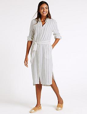 Linen Rich Dipped Hem Shirt Dress with Belt, BLUE MIX, catlanding