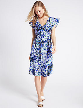 Floral Print Fuller Bust Swing Dress, BLUE MIX, catlanding