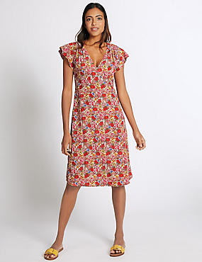 Floral Print Swing Dress, IVORY MIX, catlanding