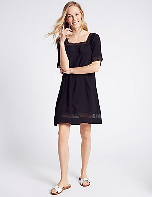 Lace Trim Tunic Short Sleeve Dress, NAVY, catlanding