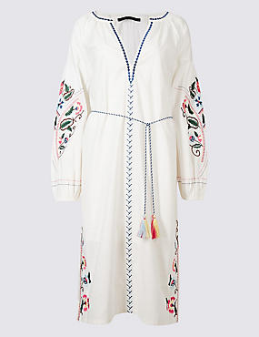 Embroidered Long Sleeve Tunic Dress, IVORY MIX, catlanding