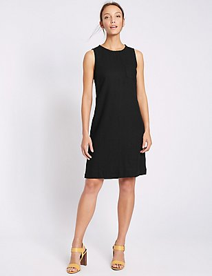 Linen Blend Sleeveless Tunic Dress, BLACK, catlanding