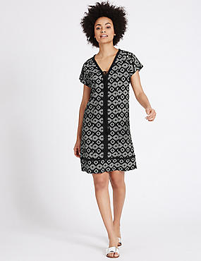 Linen Blend Printed Tassel Tunic Dress, BLACK MIX, catlanding