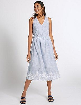 Pure Cotton Striped Skater Dress, BLUE MIX, catlanding