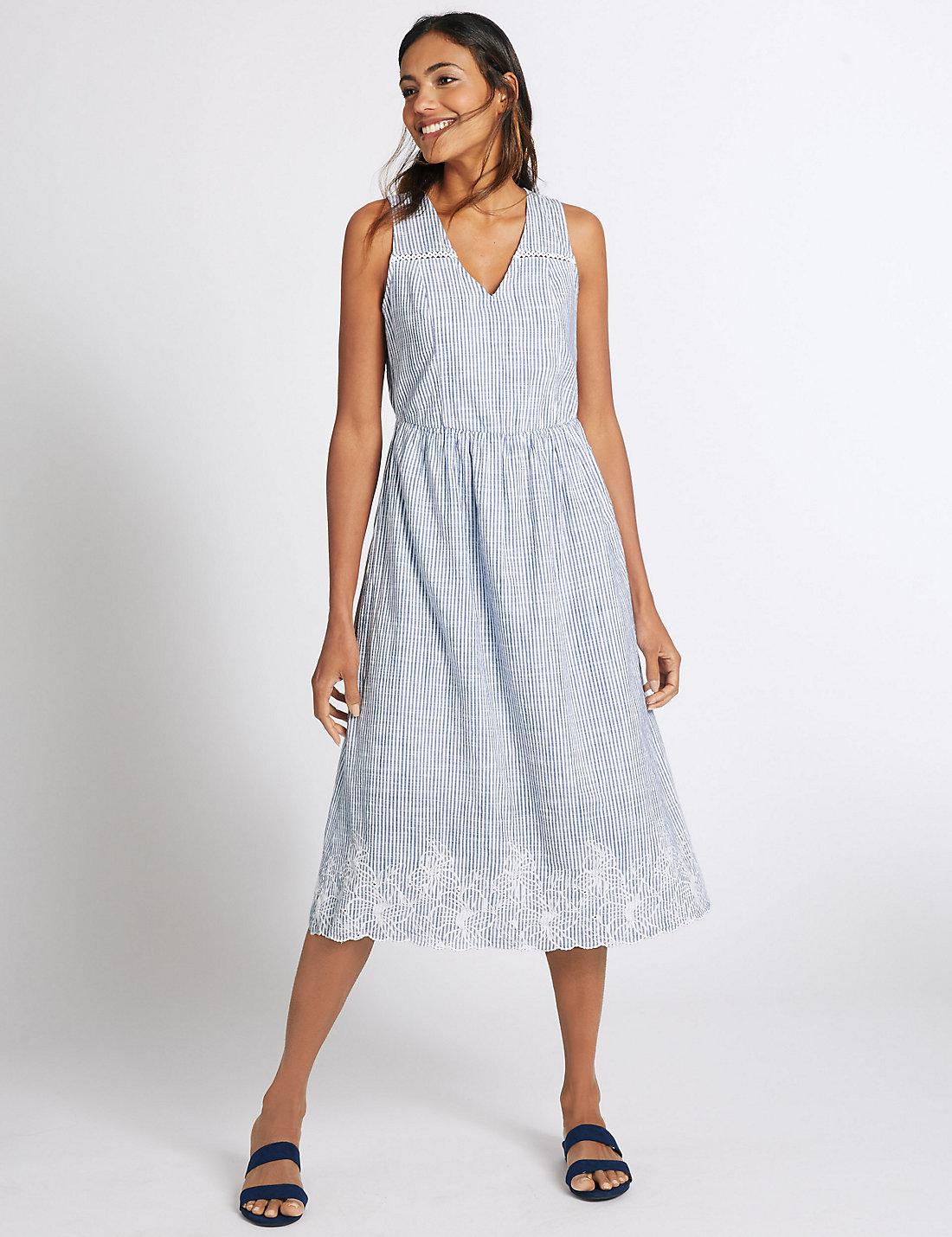 Cotton Striped Skater Dress Blue