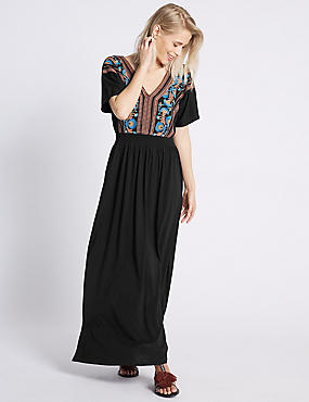 Katoenrijke geborduurde maxi-jurk met strik op de rug, ZWART MIX, catlanding