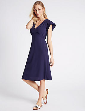Tie Detail Short Sleeve Swing Dress, NAVY, catlanding