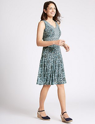 Cotton Rich Burnout Print Shift Dress, NAVY MIX, catlanding