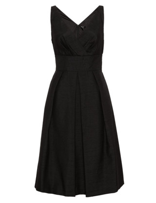 Pleated Fit & Flare Dress Clothing