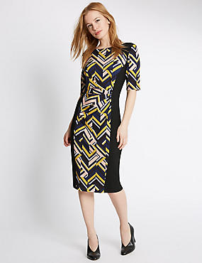 PETITE Geometric Print Bodycon Dress, BLACK MIX, catlanding