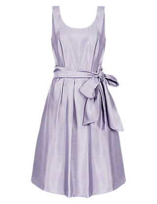 Fit & Flare Satin Belted Prom Bridesmaid Dress ONLINE ONLY Clothing