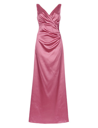 V-Neck Pleated Waist Satin Maxi Bridesmaid Dress ONLINE ONLY Clothing
