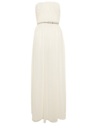 Sleeveless Flared Hem Belted Maxi Dress ONLINE ONLY Clothing