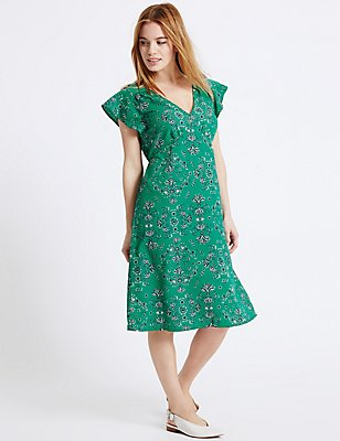 PETITE Printed Flare Tie Back Swing Dress, GREEN MIX, catlanding