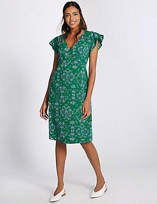 Floral Print Swing Dress, GREEN MIX, catlanding