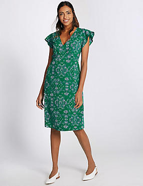 Floral Print Swing Dress, GREEN MIX, catlanding