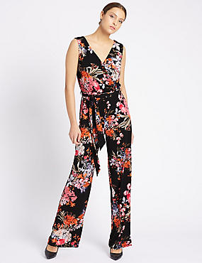Floral Print Jumpsuit with Belt, BLACK MIX, catlanding