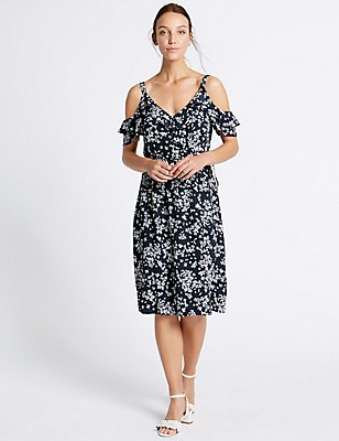 Printed Cold Shoulder Shift Midi Dress, NAVY MIX, catlanding