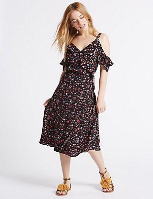 PETITE Floral Print Ruffle Swing Midi Dress, BLACK MIX, catlanding