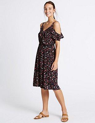 Floral Print Cold Shoulder Shift Midi Dress, BLACK MIX, catlanding
