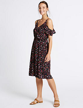 Printed Cold Shoulder Ruffle Shift Dress, BLACK MIX, catlanding