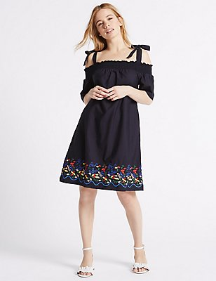 PETITE Pure Cotton Bardot Swing Dress, , catlanding