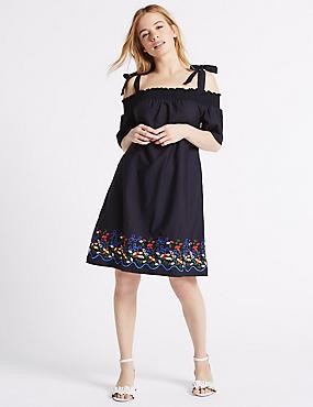 PETITE – Bardot-Kleid im Swing-Stil aus reiner Baumwolle, BLAU MELANGE, catlanding