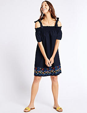 Pure Cotton Embroidered Smock Swing Dress, BLUE MIX, catlanding