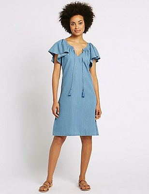 Cotton Rich Flutter Sleeve Swing Mini Dress, CHAMBRAY, catlanding