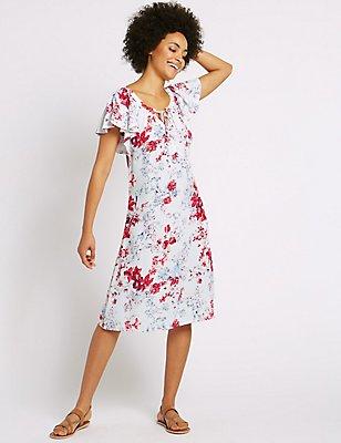 Floral Print Flutter Sleeve Swing Dress, IVORY MIX, catlanding