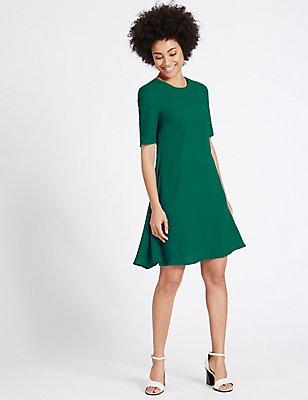 Woven Half Sleeve Swing Dress, GREEN, catlanding
