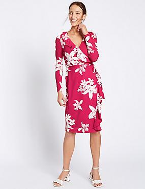 Floral Print Ruffle Wrap Dress, PINK MIX, catlanding