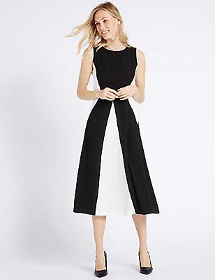 Spliced-Midi-Kleid im Swing-Stil, ELFENBEIN MELANGE, catlanding