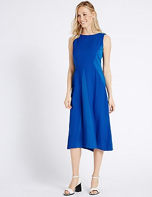 Spliced Skater Midi Dress, NAVY, catlanding