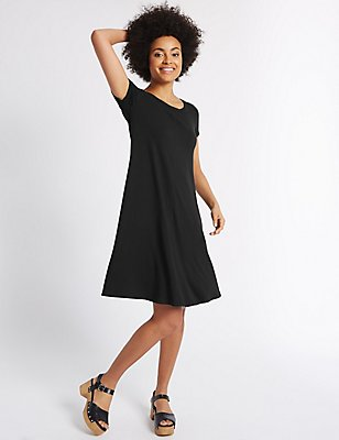 Short Sleeve Skater Dress, BLACK MIX, catlanding
