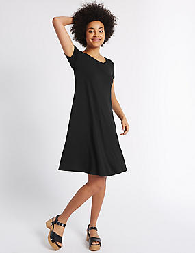 Window Back Short Sleeve Skater Dress, BLACK MIX, catlanding